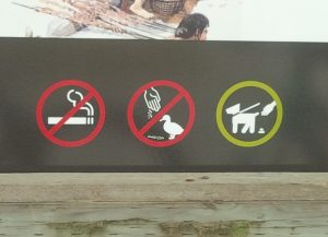 """No smoking, No feeding the ducks, but dogs on leash may poop"""