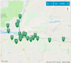 Map of all Kamloops Off-Leash Dog Parks and Hikes