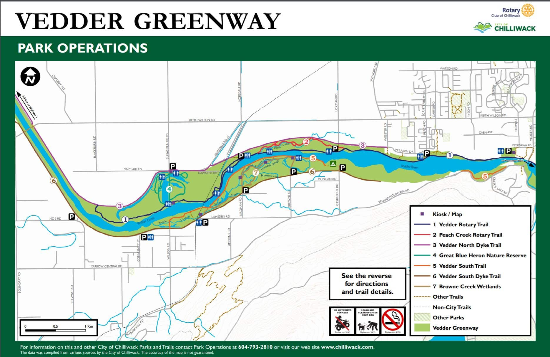 Vedder Greenway Trail Map - Vedder North Dyke Off-Leash Trail - Chilliwack - BC